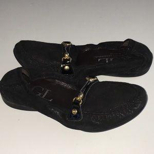 AGL black suede ballet flats shoes 39.5 us 9 9.5